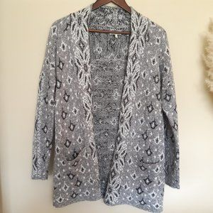 Lucky brand grey printed cardigan
